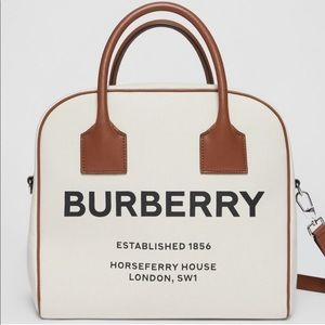RARE Burberry Horseferry Print Canvas Cube Tote